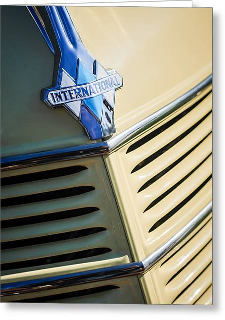 1940 International D-2 Station Wagon Grille Emblem Greeting Card by Jill Reger