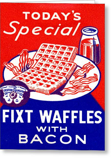 1940 Waffles With Bacon Greeting Card