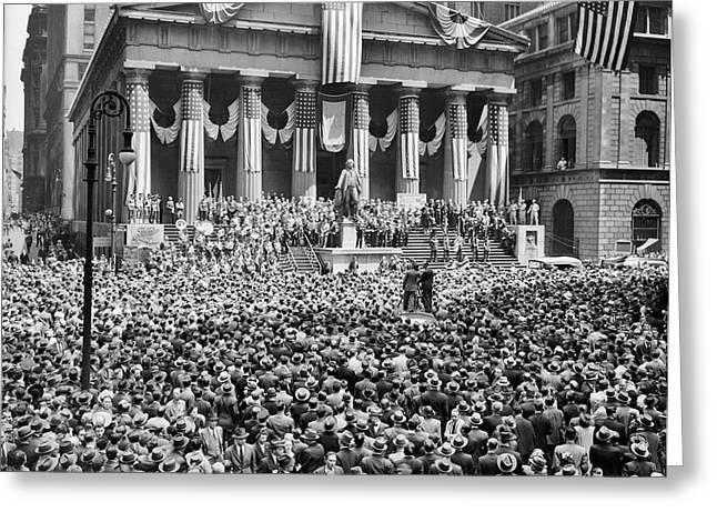 1940s 1942 Wwii War Bond Rally New York Greeting Card