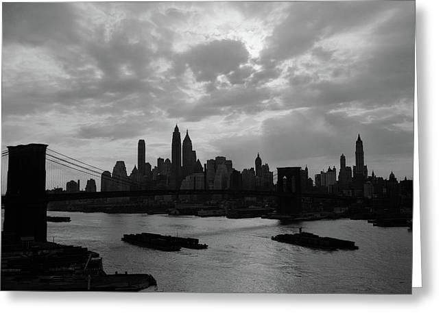 1940s 1950s Dramatic Sunset Downtown Greeting Card