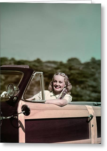 1940s 1950s Smiling Woman Driving 1948 Greeting Card