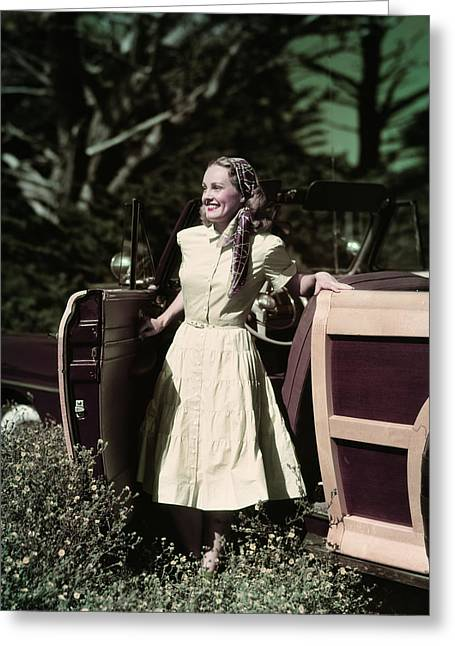 1940s 1950s Smiling Woman Getting Greeting Card