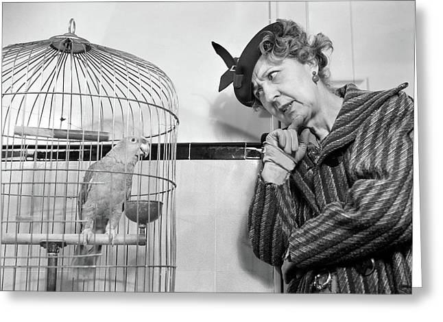 1940s 1950s Strange Perplexed Woman Greeting Card