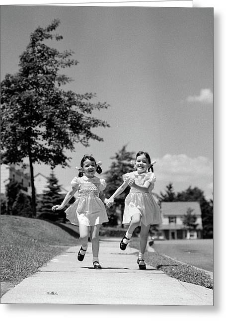 1940s 1950s Two Twin Girls Running Greeting Card