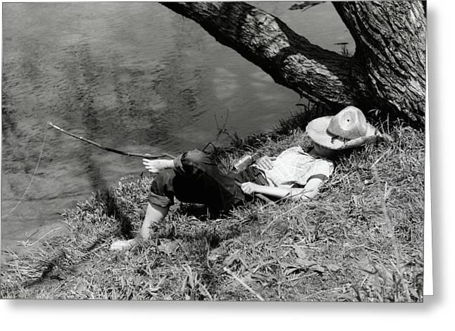 1940s Barefoot Boy Sleeping Under Tree Greeting Card