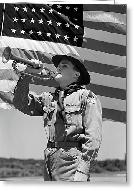 1940s Boy Scout Playing Bugle In Front Greeting Card