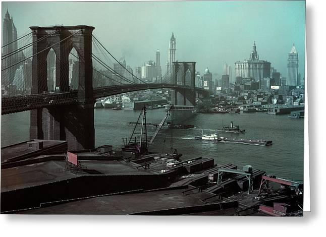 1940s Brooklyn Bridge And Skyline Greeting Card