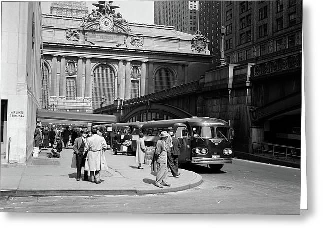 1940s Buses At Airlines Terminal Greeting Card