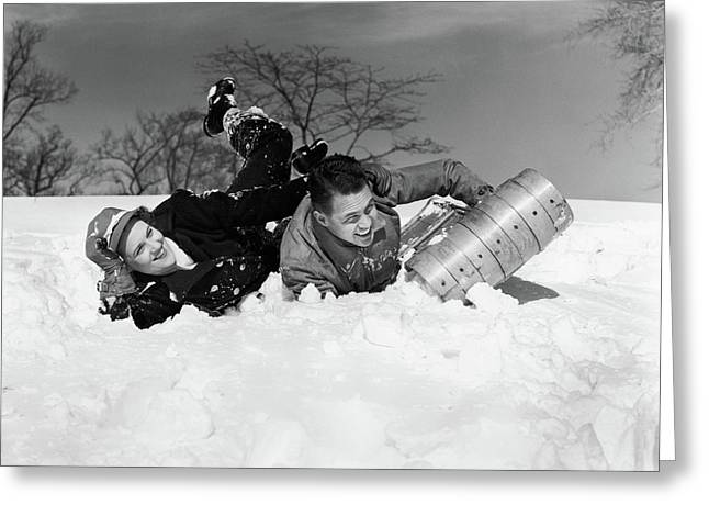 1940s Couple Laughing Falling Off Snow Greeting Card