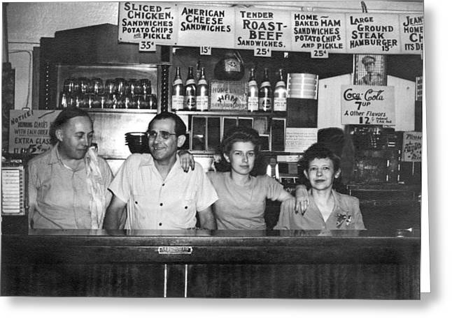 1940's Diner And Its Staff Greeting Card by Underwood Archives