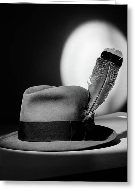 1940s Fedora Hat With Feather In Band Greeting Card