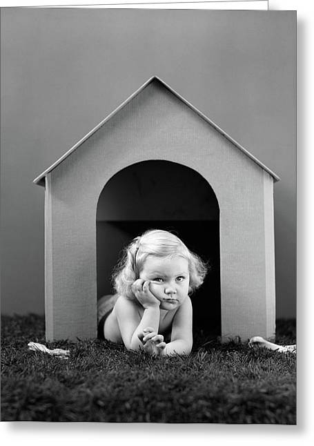 1940s Girl In Doghouse Lying On Grass Greeting Card
