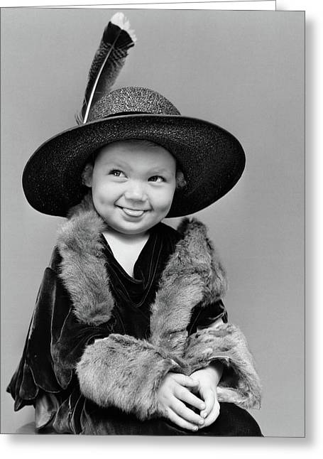 1940s Girl In Oversized Velvet Dress Greeting Card