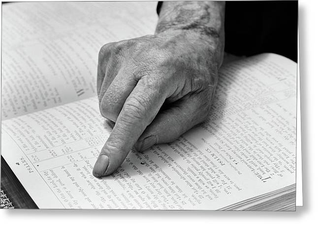 1940s Hand Of Elderly Man Reading Bible Greeting Card