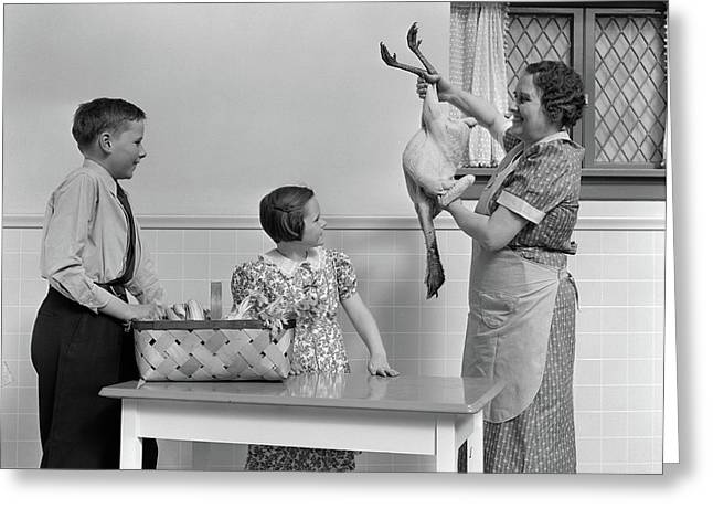 1940s Housewife In Kitchen Showing Raw Greeting Card