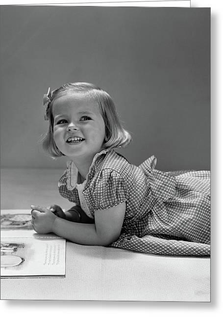 1940s Little Blond Girl Lying On Floor Greeting Card