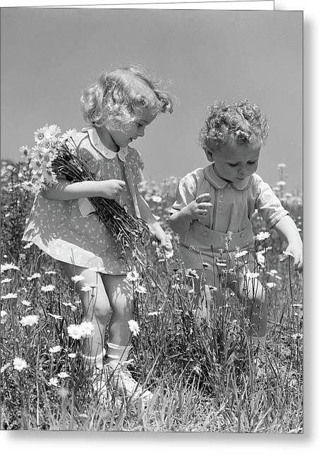 1940s Little Blonde Girl And Baby Boy Greeting Card