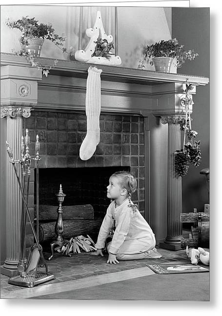 1940s Little Girl In Pajamas Kneeling Greeting Card