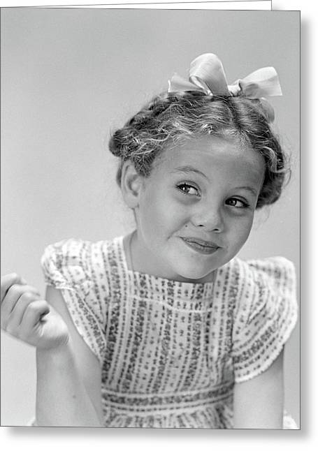 1940s Little Girl Smiling Smirking Greeting Card