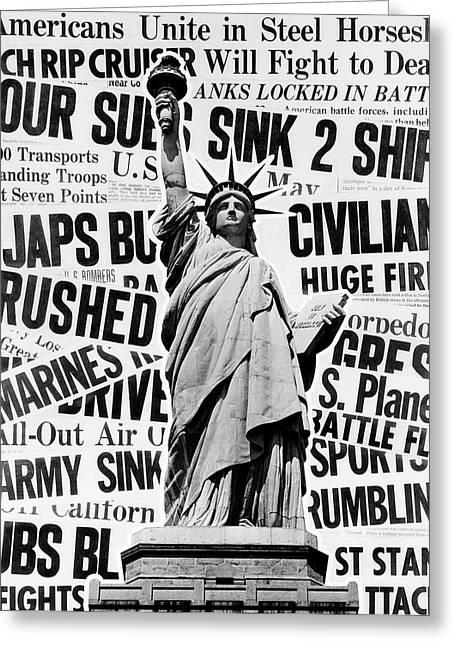 1940s Montage Of World War II Headlines Greeting Card