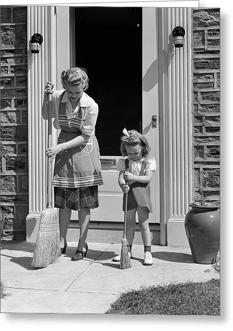 1940s Mother And Daughter Sweeping Greeting Card