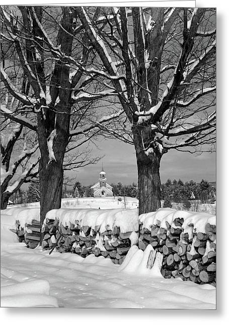 1940s Pile Of Snow-covered Firewood Greeting Card