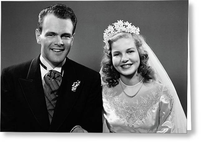 1940s Portrait Of Bride And Groom Greeting Card