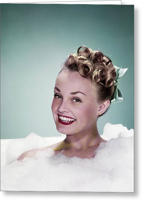 1940s Portrait Smiling Teen Girl Greeting Card