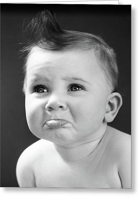 1940s Sad Baby With Pouting Lower Lip Greeting Card