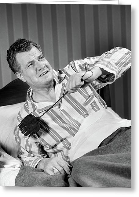 1940s Sleepless Man Sitting In Bed Greeting Card