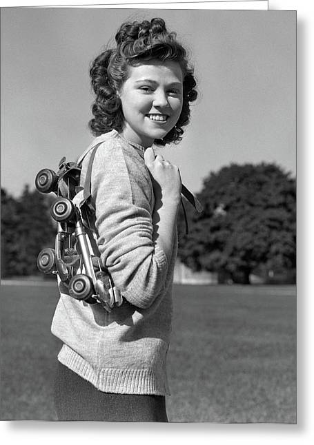 1940s Smiling Brunette Teenage Girl Greeting Card