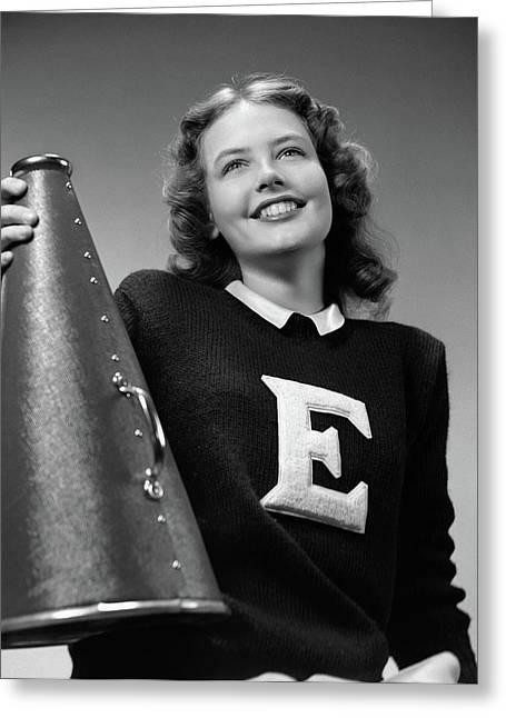 1940s Smiling Girl Wearing A Varsity Greeting Card
