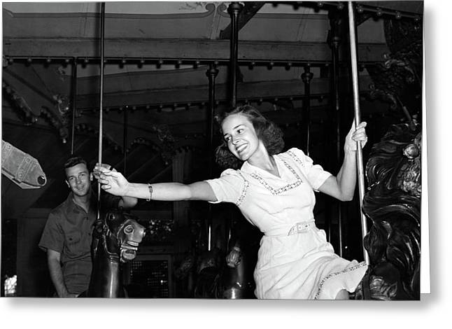 1940s Smiling Woman On Carousel Greeting Card