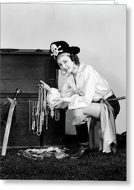 1940s Smiling Woman Wearing Pirate Greeting Card