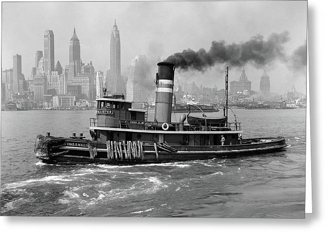 1940s Steam Engine Tugboat On Hudson Greeting Card