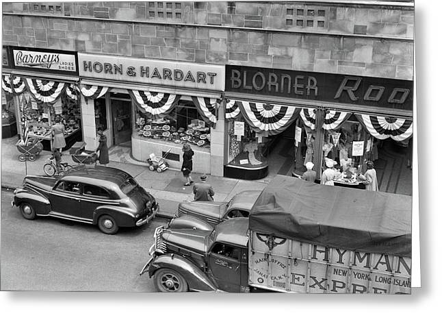 1940s Store Fronts Decorated Greeting Card