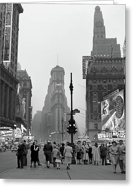 1940s Times Square At Twilight Night Greeting Card