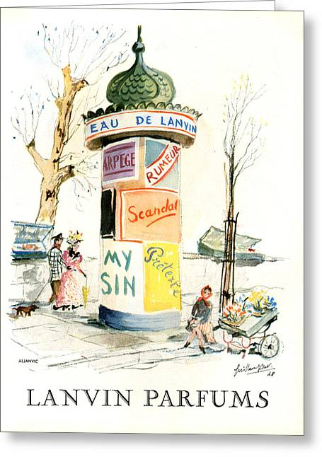 1940s Uk Lanvin Magazine Advert Greeting Card by The Advertising Archives