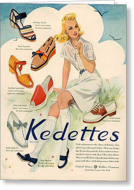 1940s Usa Kedettes Magazine Advert Greeting Card by The Advertising Archives