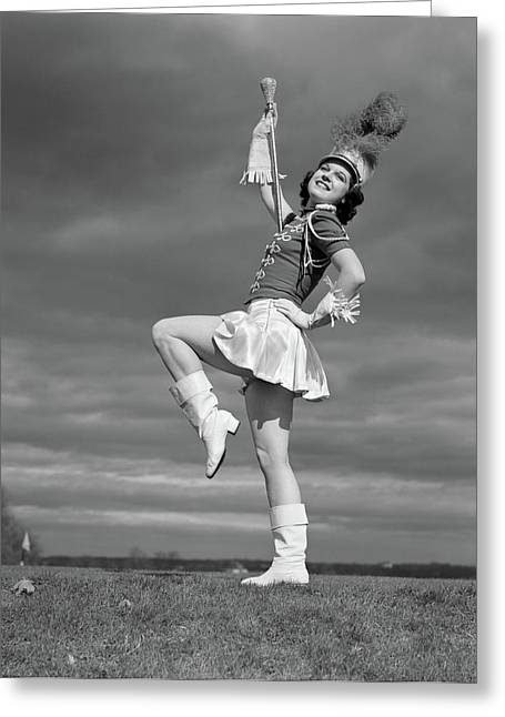 1940s Woman Drum Major In Majorette Greeting Card
