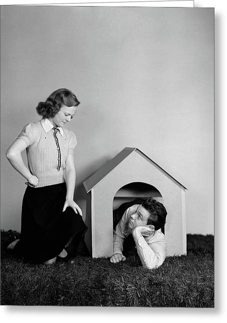 1940s Young Teenage Couple Arguing Girl Greeting Card