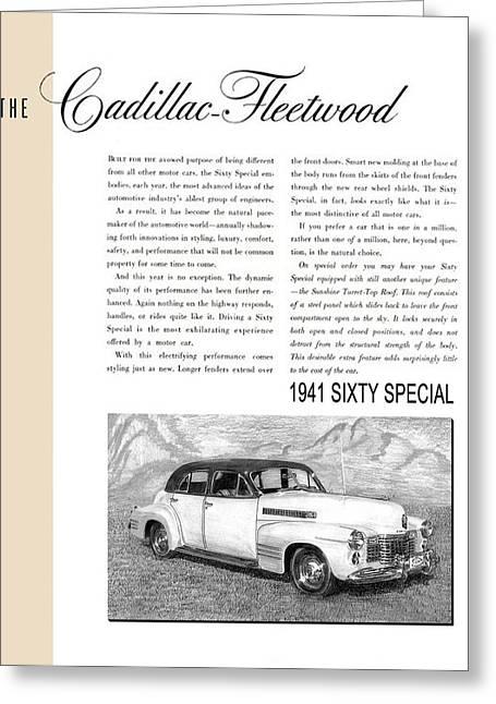 1941 Cadillac Fleetwood Sedan Vintage Ad Greeting Card