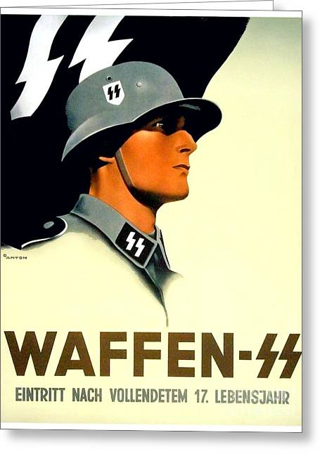 1941 - German Waffen Ss Recruitment Poster - Nazi - Color Greeting Card
