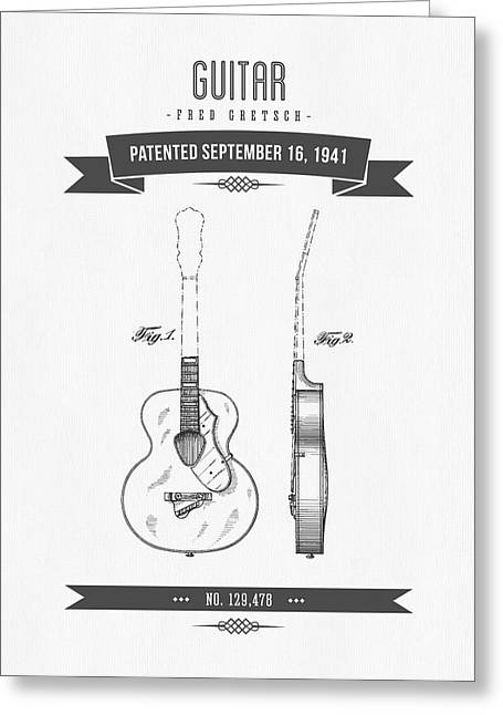 1941 Guitar Patent Drawing Greeting Card by Aged Pixel