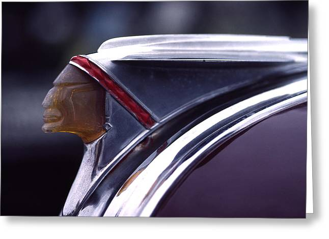 1941 Pontiac Hood Ornament Greeting Card by Carol Leigh