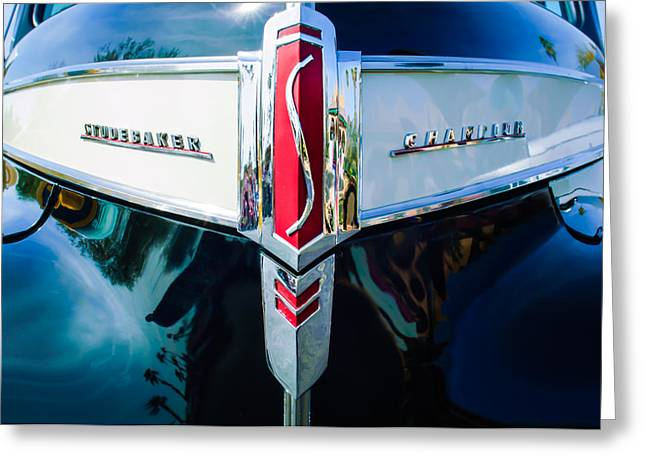1941 Studebaker Champion Grille Emblem -0053bw Greeting Card