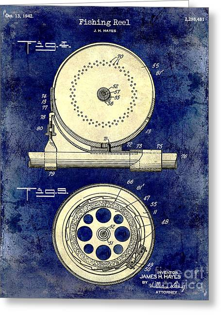 1942 Fishing Reel Patent Drawing 2 Tone Blue Greeting Card by Jon Neidert