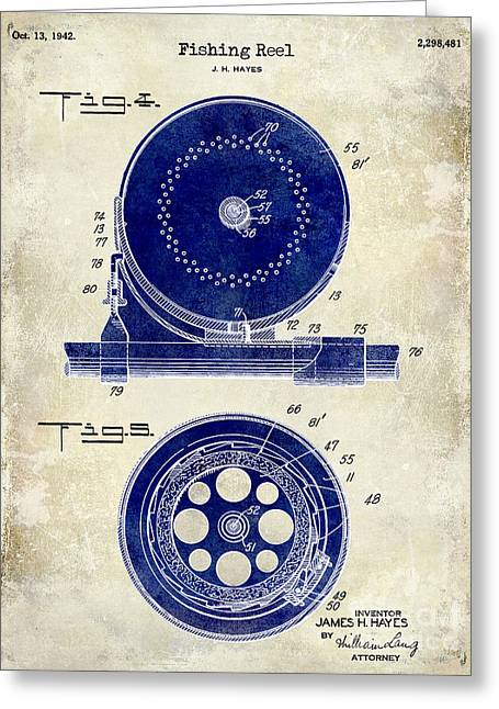 1942 Fishing Reel Patent Drawing 2 Tone Greeting Card by Jon Neidert