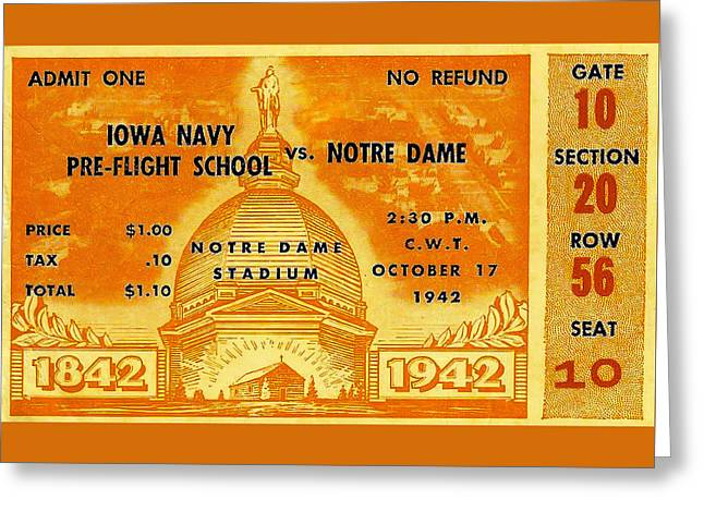1942 Football Ticket Notre Dame Vs Iowa Navy Pre-flight Greeting Card by David Patterson