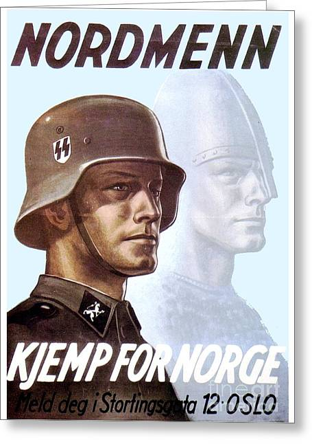 1943 - German Waffen Ss Recruitment Poster - Norway - Color Greeting Card
